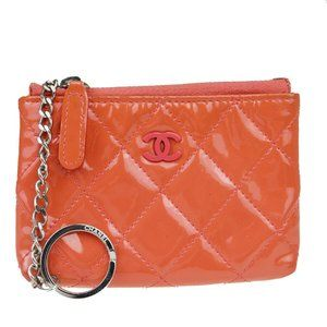 Chanel Coco Mark Key Ring Patent Leather Long Wall